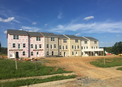 Rear view of townhomes